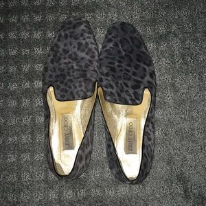Jimmy choo slippers loafers animal print